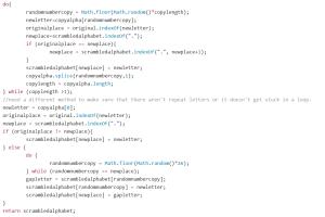 JavaScript code for new alphabet scramble