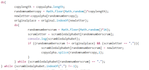JavaScript code to scramble the alphabet